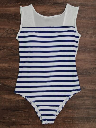 Striped Print Low Back Mesh Detail Swimsuit