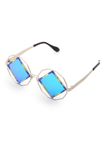 Contrast Square Lens Cutout Detail Sunglasses