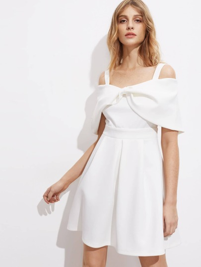 Twist Front Fold Over Box Pleated Dress