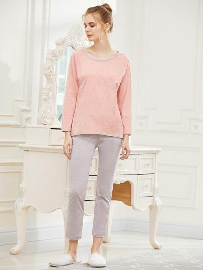Contrast Trim Raglan Sleeve Tee And Pants Pajama Set