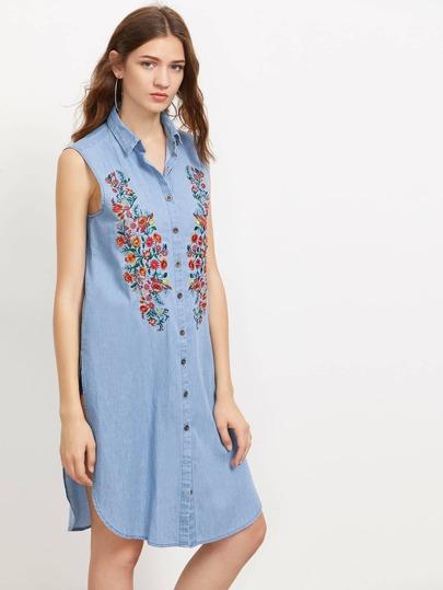 Symmetrische Jeans Bluse mit Stickereien und Schlitz