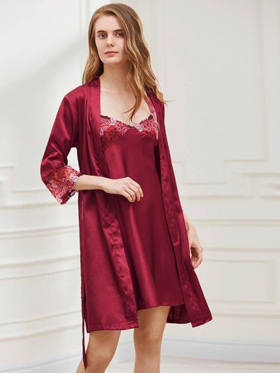 Embroidered Satin Slip Night Dress With Kimono Robe