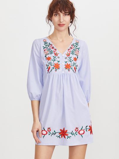 Blaues gestreiftes Knopf-vorderes Laternen-Hülsen-gesticktes Kleid