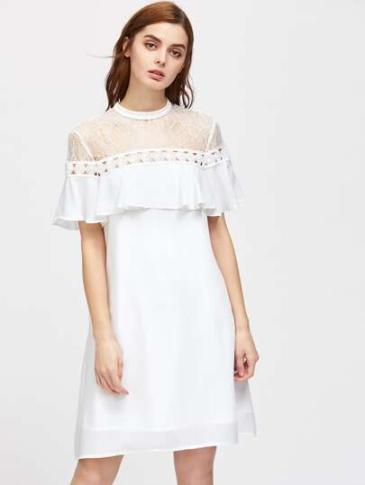 Lace Shoulder Crochet Insert Keyhole Tie Back Frill Dress