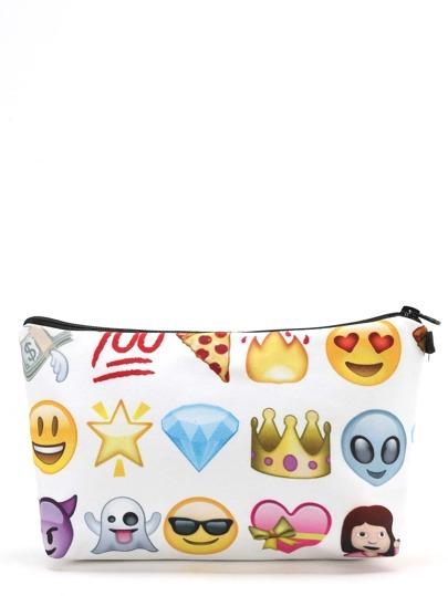 Makeup Tasche mit Emojimuster
