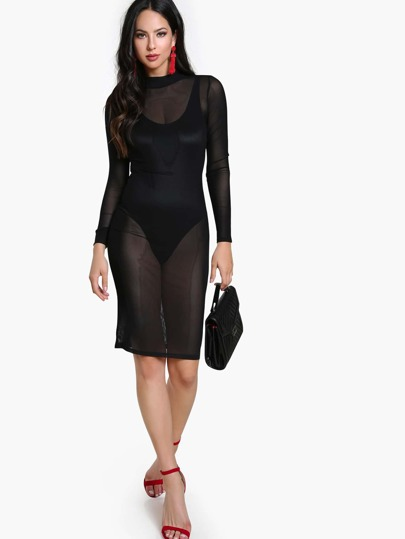 Sheer Long Sleeve Dress BLACK