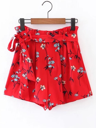 Tie Waist Floral Shorts