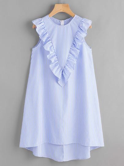Robe à rayures avec le zip et dséfiler plis
