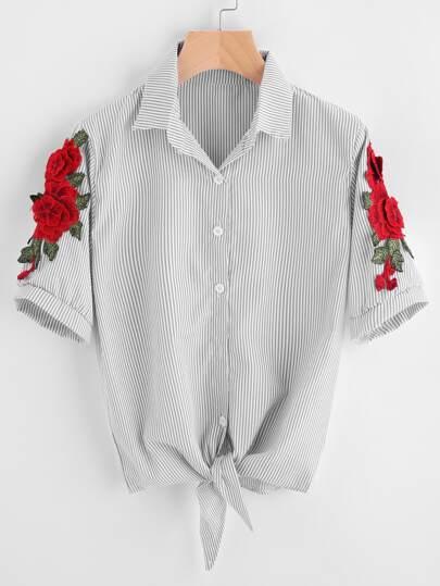 Symmetrical Appliques Pinstripe Knot Hem Shirt