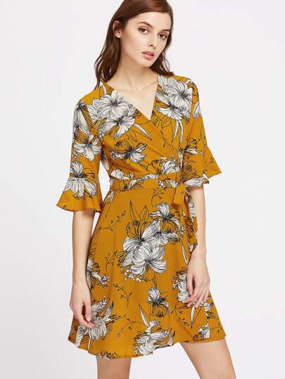 Surplice Front Bell Sleeve Tie Waist Dress