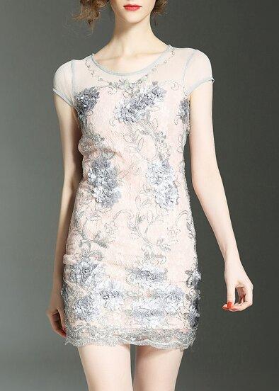 Flowers Applique Beading Lace Dress