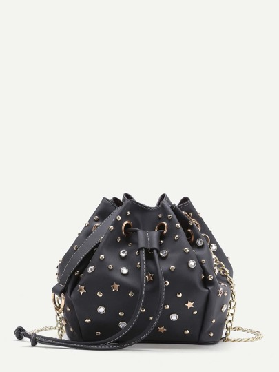 Rhinestone And Star Embellished Drawstring Bucket Bag