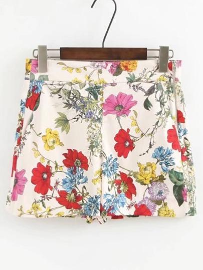 Zipper Side Floral Print Shorts