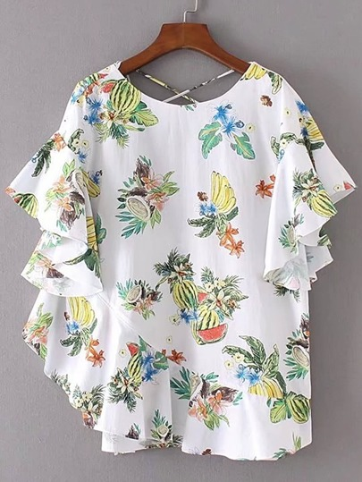 Tropical Print Criss Cross V Back Ruffle Top