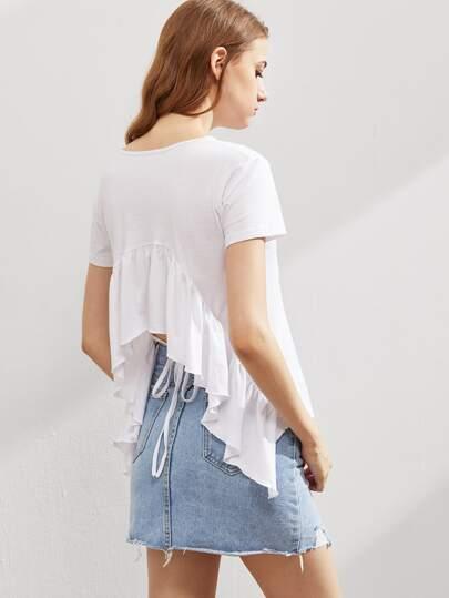 T-shirt aperto sulla schiena con bordi a volant