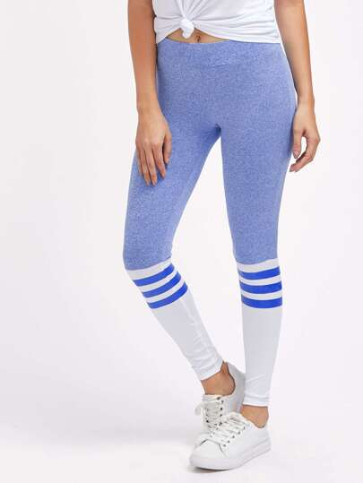 Active Color Block Striped Panel Leggings