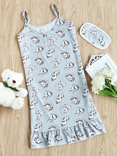 Cats Print Slip Night Dress