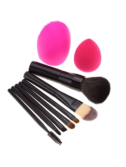 Professional Makeup Brush 7pcs With Sponge And Brush Cleaner