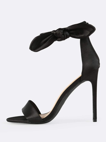 Satin Side Bow Ankle Strap Heels BLACK