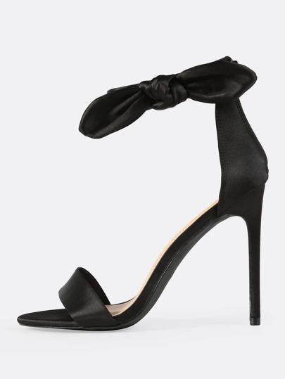 Satin Side Bow Ankle Strap Heels BLACK
