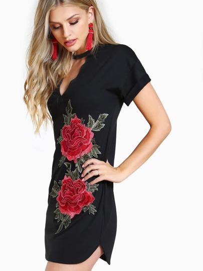 Rose Embroidered Choker Neck Dress BLACK