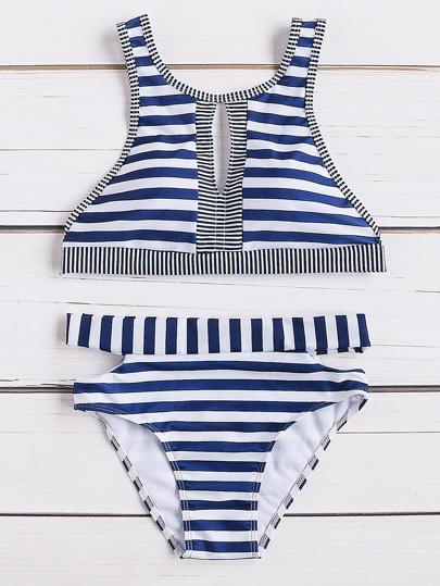 Striped Print Front Keyhole Bikini Set