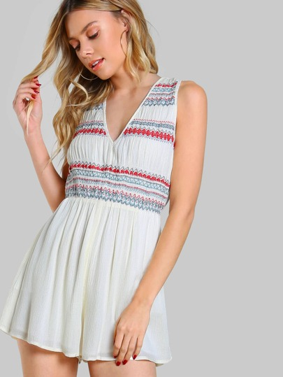 Stitched Tie Up Flowy Romper OFF WHITE