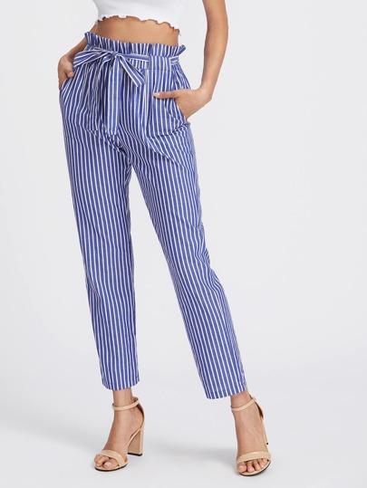 Модные брюки в полоску с поясом