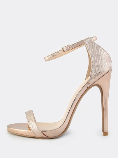 Metallic Reptile Print Ankle Strap Heels ROSE GOLD