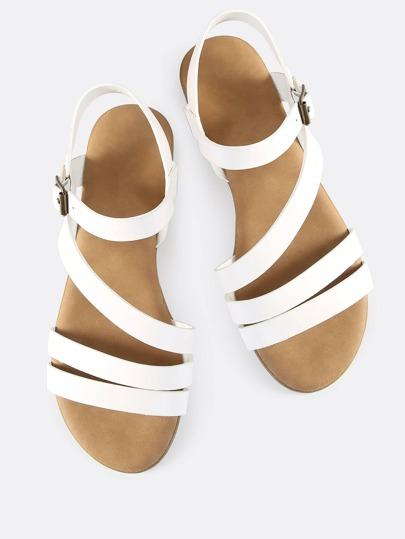 Multi Strap Open Toe Sandals WHITE