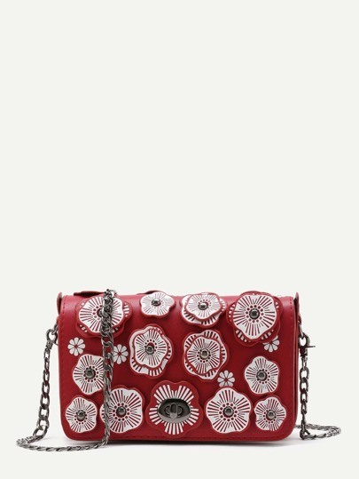 Flower Decorated Crossbody Bag With Chain