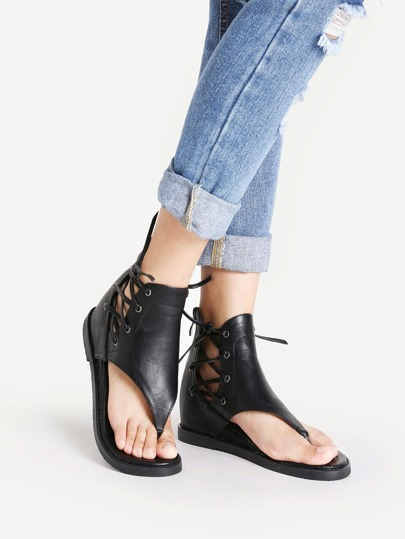 PU Criss Cross Lace Up Sandals