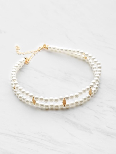Metal Detail Faux Pearl Design Double Layer Choker