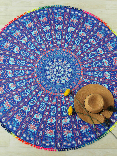 Paisley Print Pom Pom Trim Round Beach Blanket