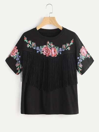 Camiseta con estampado con flecos