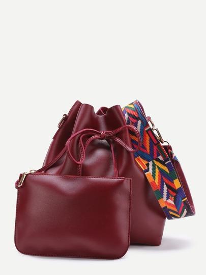Contrast Strap Drawstring Bucket Bag With Crossbody Bag