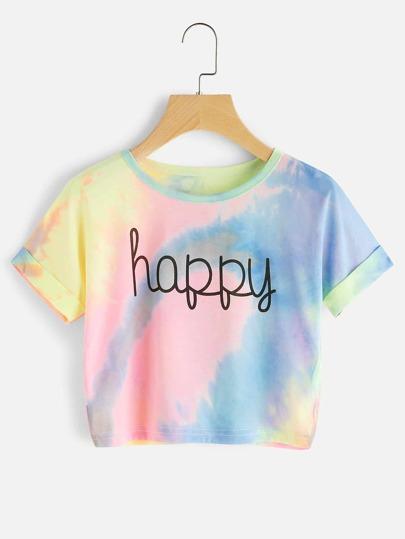 T-Shirt mit Wasserfarbe,Buchstabe und gerollten Ärmeln