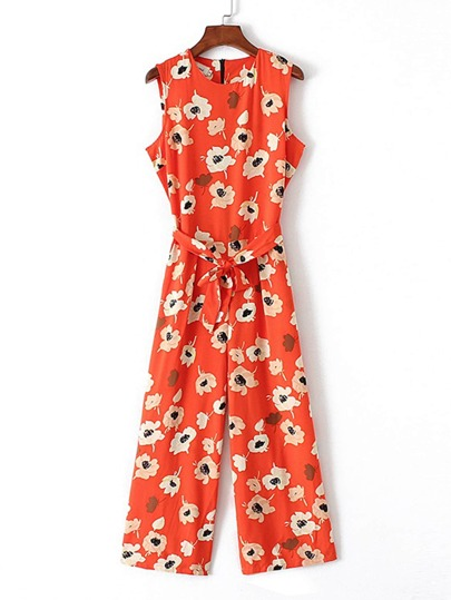 Flower Print Tie Waist Jumpsuit