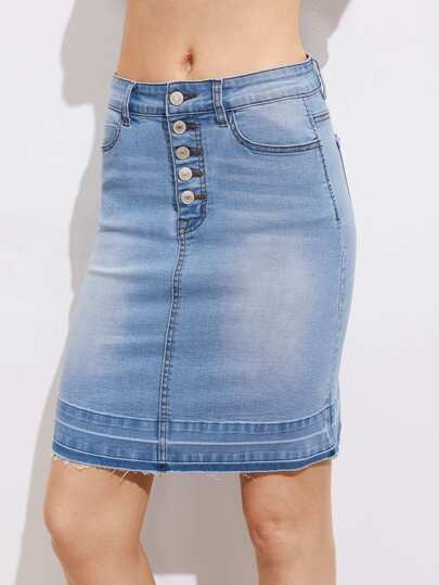 Buttoned Fly Vented Back Bleach Wash Denim Skirt