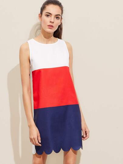Buttoned Keyhole Back Scallop Hem Color Block Dress