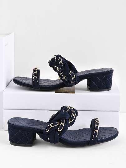 Braided Strap Block Heeled Slide Sandals