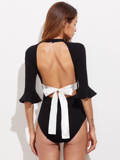 Contrast Ribbon Tied Open Back Bell Cuff Bodysuit
