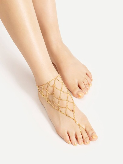 Mesh Design Chain Anklet With Toe Ring