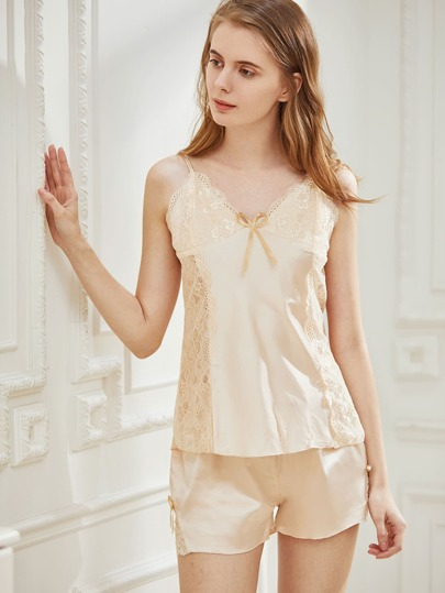 Lace Bow Detailed Cami Pajama Set