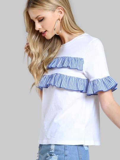 Ruffle Plaid Tee Shirt WHITE