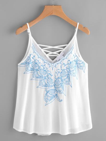 Embroidered Criss Cross Back Cami Top