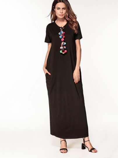 Vestido largo con pompones
