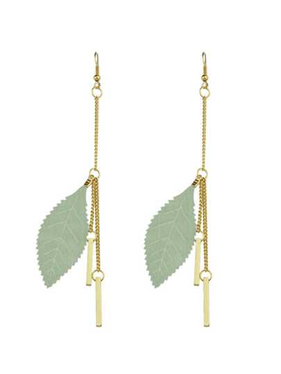 Green  Color Feather Spike Pendant Long Earrings