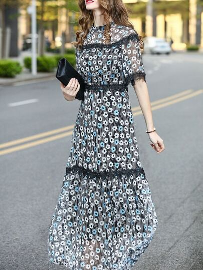 Floral Contrast Lace Maxi Dress