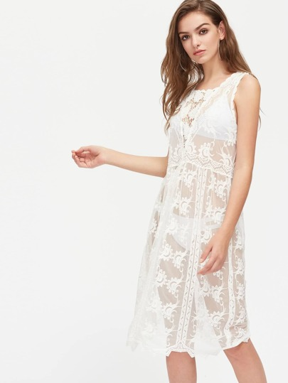Crochet Insert Embroidered Cover Up Dress